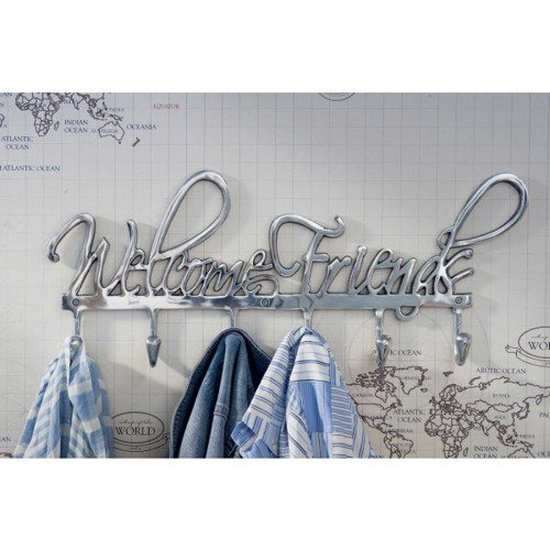 Riviera Maison, wieszak, Coatrack Welcome Friends, aluminiowy, 61x25x4cm
